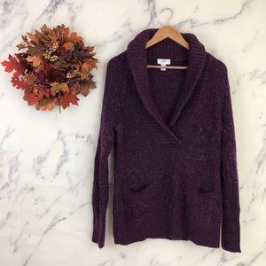 LOFT Shawl Collar Sweater in Purple